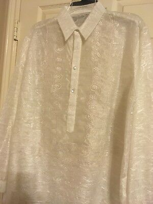 Barong Tagalog Embroidered Mens Beige SIze MEDIUM
