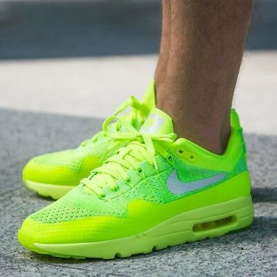 08b123dce7a4 NIKE AIR MAX 1 Ultra Flyknit Volt white-Electric Green Men s  843384 ...