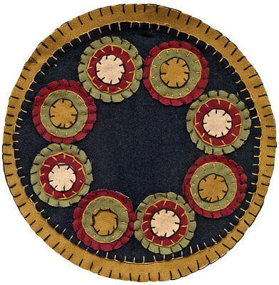 """New Primitive Country Black Mustard Green PENNY STITCHED CANDLE MAT Doily 9"""""""