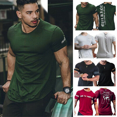 Men's Gym Muscle Bodybuilding Cotton Sport Fit Fitness Casual T-shirt Slim Tee