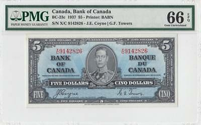 "1937 BANK OF CANADA KGVI $5 **Coyne & Towers** ""TOP GRADE"" (( PMG 66 EPQ ))"
