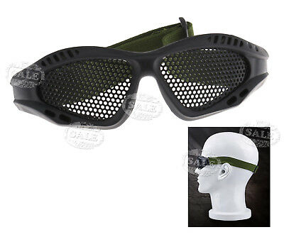 Tactical Military Camouflage Protection Metal Mesh Glasses Shooting Black