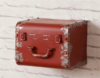 New Rustic Farmhouse Chic Shabby Antique Vintage Style Suitcase Wall Shelf Red