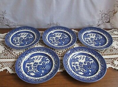 Set Of 5 X Blue Willow Bread & Butter Side Plates – Cc Made In England