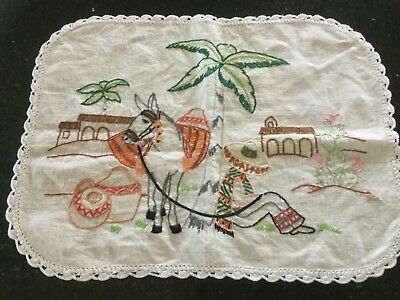 "Vintage Hand Embroidered ""Donkey and Sleeping Mexican"" Doily with Crocheted Edge"