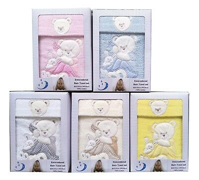 [50%OFF!]  Baby 100% Cotton Towel set Boxed Bear With Rabbit
