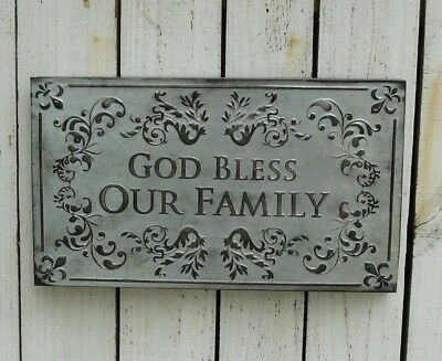 Vintage primitive rustic style metal GOD BLESS OUR sign country home wall decor