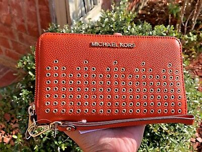 720ee6f2102b MICHAEL KORS HAYES Large Flat Phone Case Wallet Persimmon - $79.99 ...