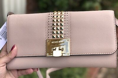 258f620febc7e7 MICHAEL KORS TINA STUD Flap Clutch Shoulder Bag In BALLET Saffiano Leather  $248