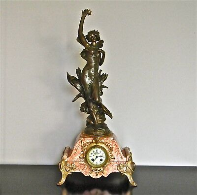 French Art Nouveau 8 day Clock with large LIBELLULE signed figurine.CROYDON