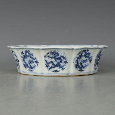 Rare Chinese Blue and White Dragon Porcelain Brush Washer