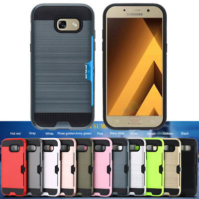 For Samsung Galaxy A3 A5 A7  2017 Hybrid Brushed Armor Rubber Card Case Cover