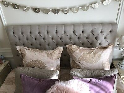 King Size Linen Upholstered Bed Head