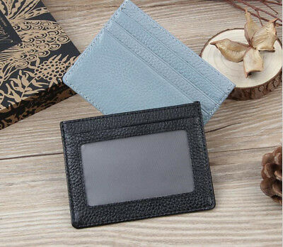 Leather Wallet Slim Card Holder With ID Window Opal Card Holder 3 Card slots