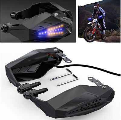 2PCS Motorcycle Handlebar Mounting Hand Guard Wind Protector With LED Light
