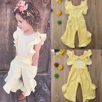 New Kids Baby Girl Ruffle shoulder  Romper Jumpsuit Trousers Outfit Clothes
