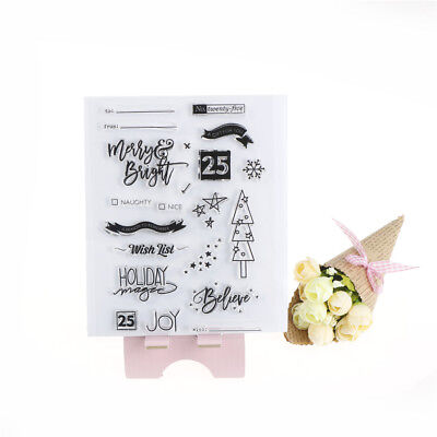 Christmas Merry&Bright Transparent Clear Silicone Stamp for DIY scrapbooking、Fad