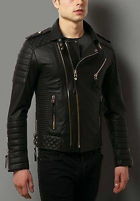 Mens Black Leather Jacket Quilted Biker Genuine Leather Size S M L XL XXL TBLC