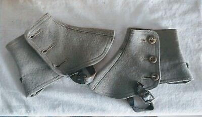 Vintage Felt Wool Spats Pre War 1920s Gaiters Ankle Boot Covers Grey England