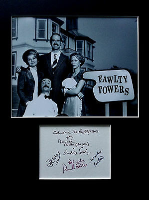 FAWLTY TOWERS signed autographs PHOTO DISPLAY John Cleese Prunella Scales