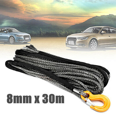 100ft 8mm Synthetic Winch Rope Dyneema Off Road Self Recovery Rigging + Hook  UK