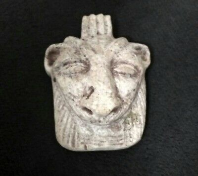 Rare Ancient Egyptian ‎STONE FACE OF SEKHMET Amulet late Period (600–300 BC)