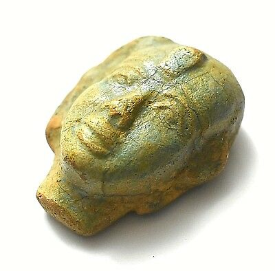 Rare Ancient Egyptian Egypt Antique FAIENCE HEAD OF MAN STATUE 600–1000BC