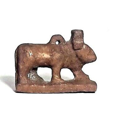Rare Ancient Egyptian  STONE AMULET OF Hathor  Cow late Period (672–332 BC)
