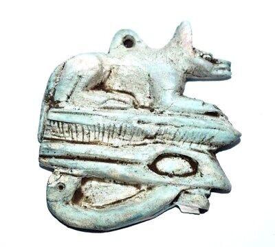 Rare Ancient Egyptian  faience amulet Anubis with Eye of Horus (1000–600 BC)