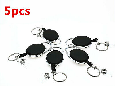 5X Retractable Pull Key Ring Chain Reel ID Lanyard Name Tag Card Badge Holder