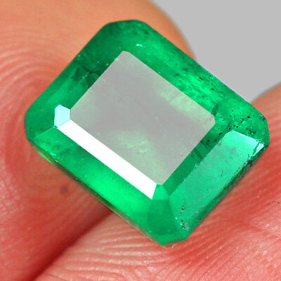 2.7CT 100% Natural Awesome Deep Green Zambia Emerald Cut Collection MQM31