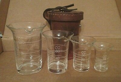 Rare Cased Cambridge Glass Apothecary Engraved Measuring Beakers - Free Shipping