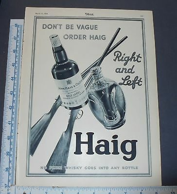 1934 Haig & Haig GOLD LABEL PINCH SHOTGUN Scotch Whiskey Magazine Ad
