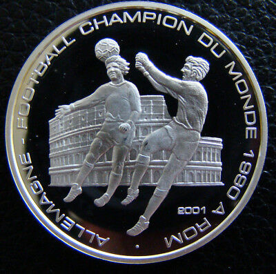 2001 Congo 1000 Francs Silver Proof -  Soccer, Collesium