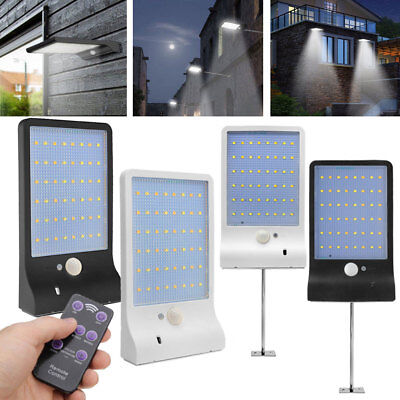 48 LED Solar Powered PIR Motion Sensor Wall Fence Security Light Outdoor Lamp UK