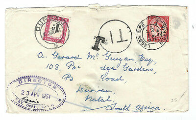 British QE2 postage used in Nigeria by P&T Dept, to RSA + RSA postage due
