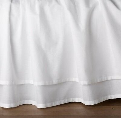 Restoration Hardware Gathered Voile Crib Skirt White Baby Nursery Boy Girl
