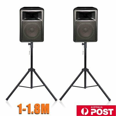 2 X Heavy Duty Iron PA Speaker Stands Rack DJ Rehearsal Live DP Stage Pair VB