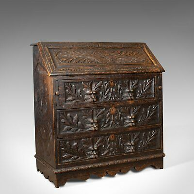 Antique Bureau, English, Oak, Victorian, Green Man, Writing Desk, Circa 1880