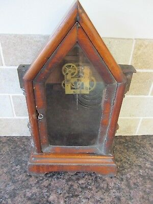 Antique Gothic Style Wooden Steeple Mantle Clock Case with movement