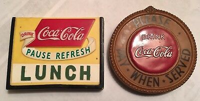 2 Vintage Coca Cola Magnets 1998 Soft Plastic Pause Refresh, Pay When Served
