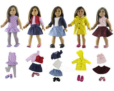 """Hot 5 Set Handmade Doll Clothes+5 Pairs Shoes for 18"""" inch American Girl Doll"""