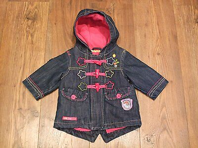 w Next Baby Girls Navy Blue Denim Hooded Coat Embroidery Age 3 - 6 Months Winter