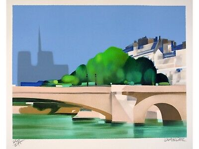Alfred DEFOSSEZ s/n Lithography Au loin Notre-Dame 1987