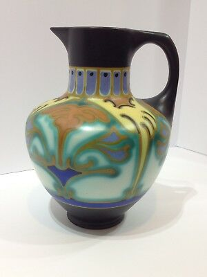 Gouda Holland Art deco Pitcher. Signed Corel Schoulhoven. Antique