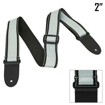 """2"""" Strap For Electric Acoustic Bass Guitar Nylon Thick Leather Ends Gray & Black"""