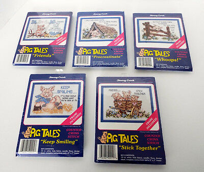 5 Stoney Creek Counted CROSS STITCH Kits PIG TALES 5x7 Frames Included