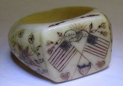 ANTIQUE EARLY 1800's SCRIMSHAW RING W/AMERICAN FLAGS AN 1812 COMMODORE ESTATE
