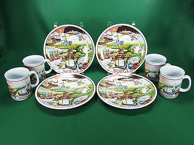 FIGGJO NORWAY Set of 4 Mugs & Plates NORGE Cruise TRAVEL LANDMARKS EXCELLENT!