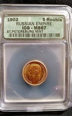 Gold Russia 5 Roubles, 1902 Russian Empire ICG MS-67 Certified World Gold Coin